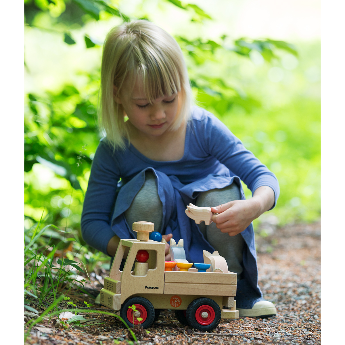 Nova Natural Wooden Unimog for Farm Play